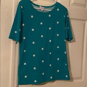 LuLaRoe Gigi green polka dot shirt